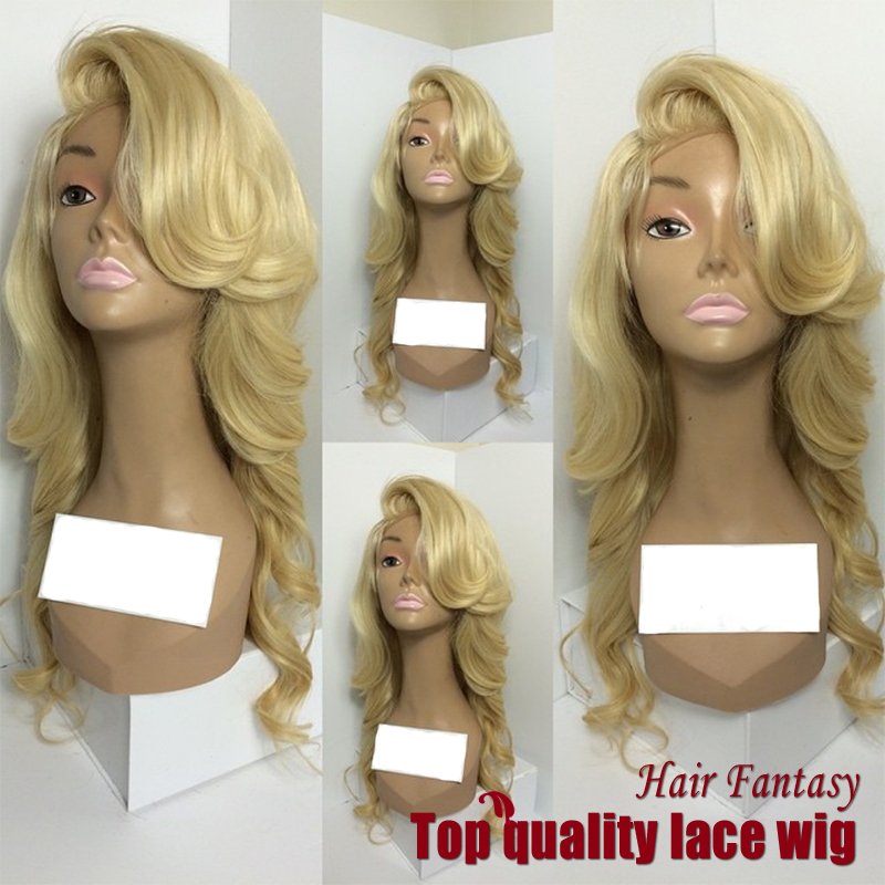 2017 Premium High Quality Fashion Natural Long Body Wave Blonde Wave Wigs Heat Resistant Synthetic Lace Front Wigs For Women<br><br>Aliexpress