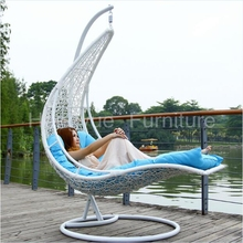 Hanging rattan chair bed furniture with cushions