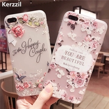 Kerzzil 3D Relief Cases For iPhone 6 6s Lace Roses Flowers Soft Flexible Silicone Gel Cover For iPhone6 6S 7 Plus Back Capa