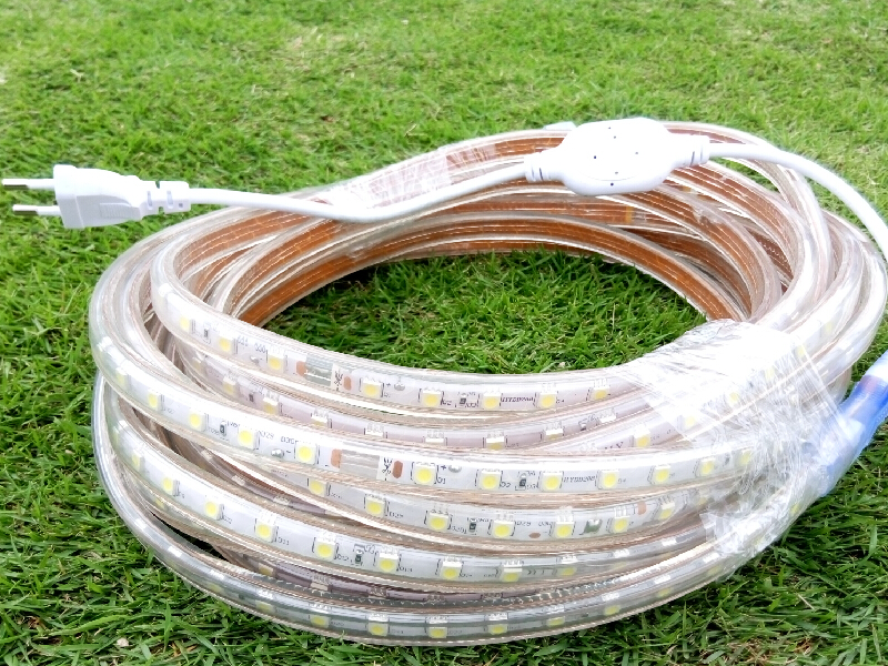 10m 5050 LED Flexible Strip Lights 220V Warm white Red Yellow Blue Green Color for Outdoor Waterproof Ribbon 13mm Wide + Clips<br>