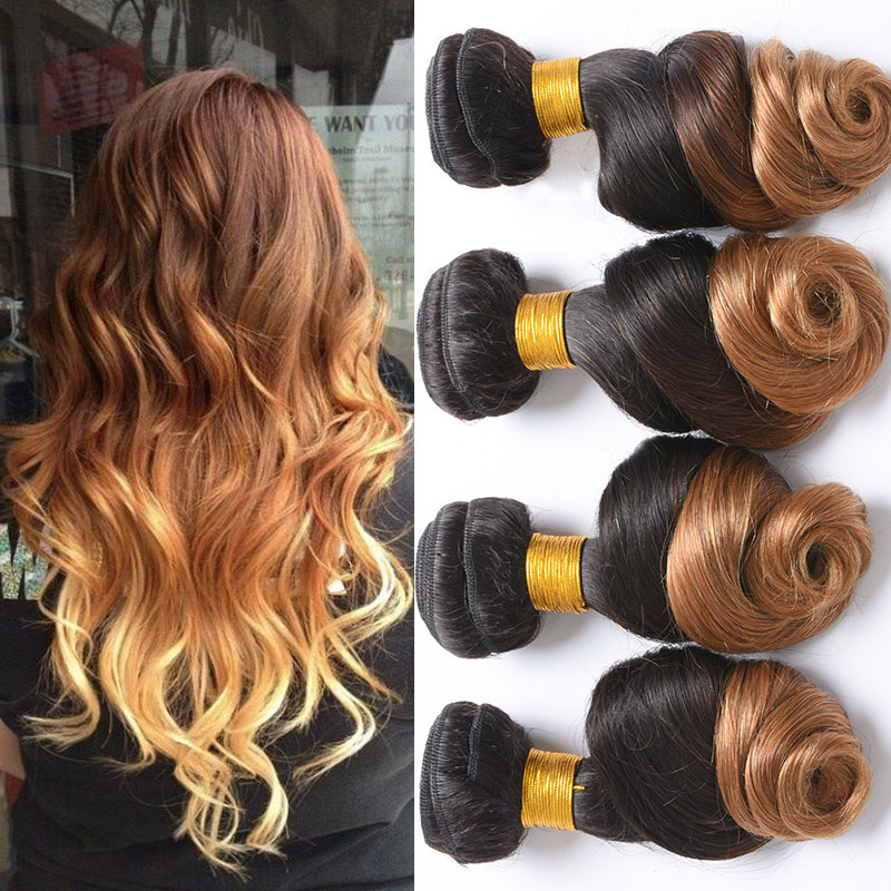 Ombre Malaysian Virgin Hair Loose Wave 4 Bundles T1B/27 Two Tone Ombre Virgin Hair 7A Unprocessed Human Hair Loose Wave Bundles<br><br>Aliexpress