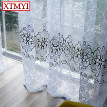 tulle Curtains for Living Room Window Curtains for Bedroom Kitchen Modern Sheer Voile Drapes(China)