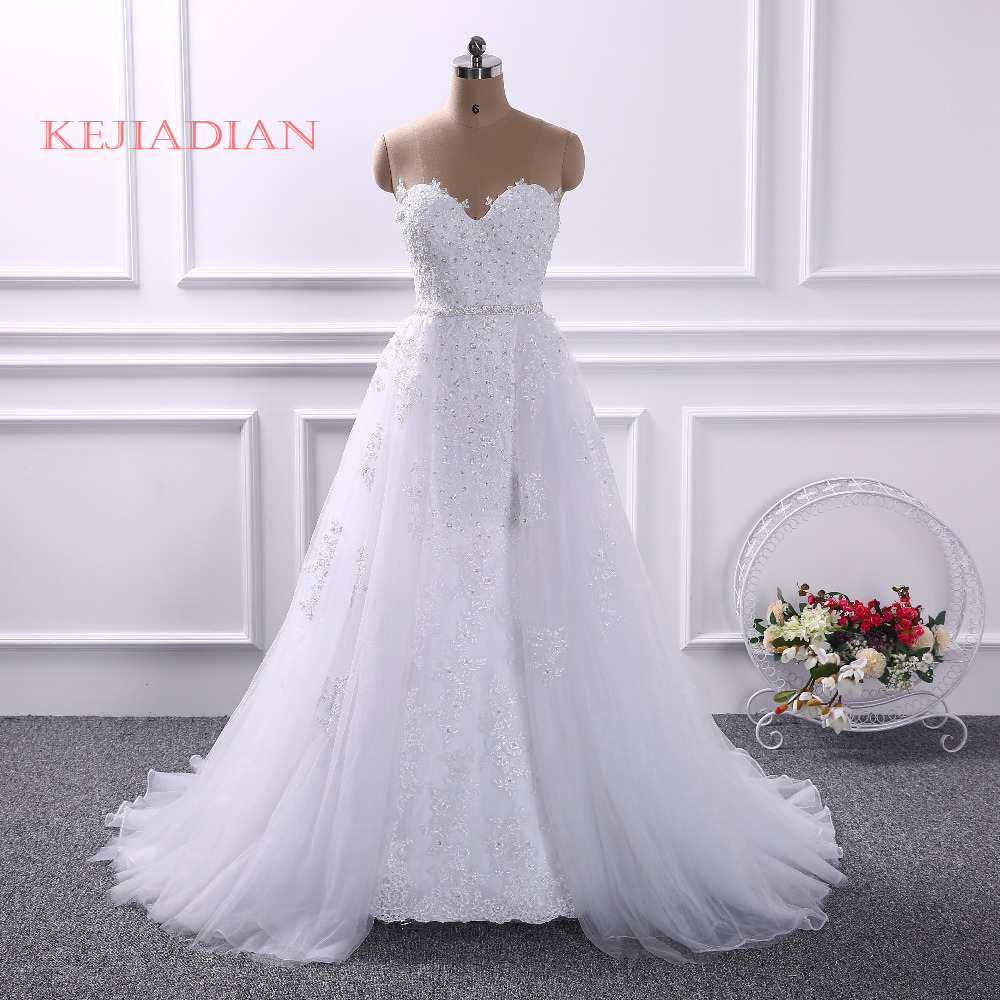 Dreamy Design Lace Appliques Mermaid Wedding Dress Sweetheart Sexy Backless Bride Dress With Removable Train Skirt Custom made