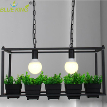 Countryside style 2 head E27 flower plant pot Art decor iron chandelier living room restaurant cafe bar hanging lamp fixture