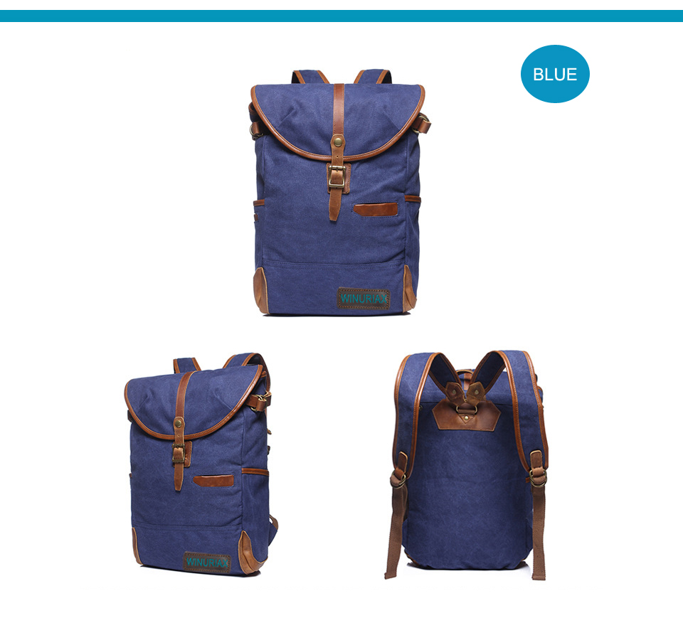 WINURIAX Vintage Canvas Bag 14inch Laptop Backpacks For Teenager waterproof male travel backpack