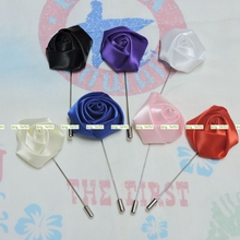 New 7pcs Silk Artificial Rose Men Blazer Suit Lapel Flower Pin Wedding Church Decor Boutonniere Brooch Blue 7 Color Bw014