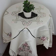 Exports rose flower pastoral style embroidery thread empty exquisite handmade table cloth tablecloth