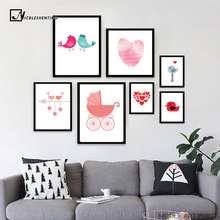 Lovely Birds Cartoon Animals Art Canvas Poster Minimalist Print Creative Fingerprint Heart Picture for Home Kids Room Decor C107