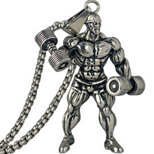 Dumbbell Pendant Necklace Men Stainless Steel Chain Silver Fitness Strong Man Hippie Necklace Motivation Gym Hip Hop Jewelry(China)