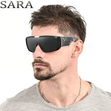 SARA Black Dragon Sunglasses For Men Sport Goggle Sun Glasses Oversized Frame Reflective Coating Glasses With Designer Box S2030(China)