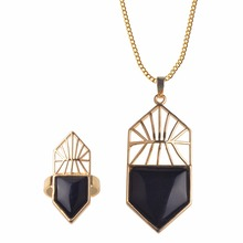 Fashion Vintage Necklace Set Natural stone Jewelry Set Rings Classic black onyx howlite Pendant Design crystal jewelry set(China)