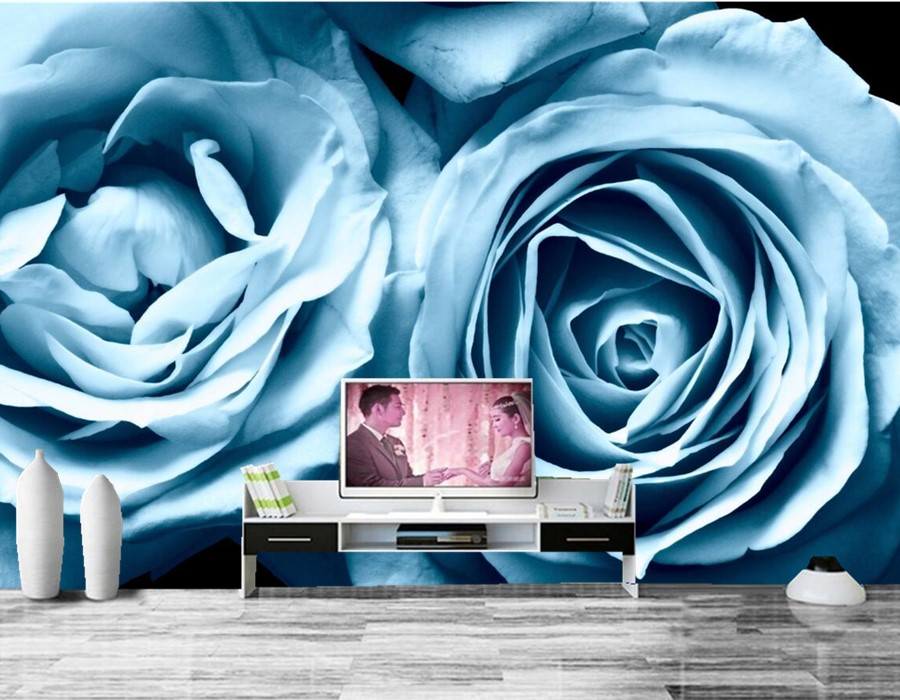 Custom Roses Light Blue Flowers wallpaper,hotel coffee shop living room sofa TV wall bedroom wall paper murals modern wallpaper <br>