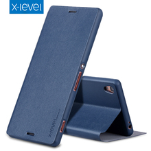 X-Level Luxury Business Style PU Leather Case for Sony Xperia Z3 Flip Cover for Sony Z3 ultra thin Stand Case Cover for Sony Z3(China)