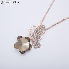 Janewu Wind Butterfly in love with flowers Pendant Necklace female rose gold color popcorn chain Crystal Necklace women