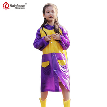Rainfreem Impermeable Transparent Children's Raincoat Cartoon Waterproof Kids Rain Coat Boys/Girls Rain Gear Poncho