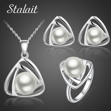 2016 New Fashion Brand Bridal Jewelry Set Silver Color Simulated Pearl Pendant Necklace Earrings Rings Jewelry Sets 29073