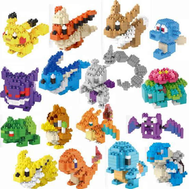 16 Style Anime Pikachu Figures Model Toys Pikachu Toys Charmander Bulbasaur Charizard Eevee Building Blocks kids toys(China (Mainland))