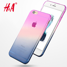 H&A Transparent Gradient Color Design TPU Silicon Case For iphone 6 6s 7 5 5s 6 plus Cover For iphone 7 7 plus Cases Case Capa