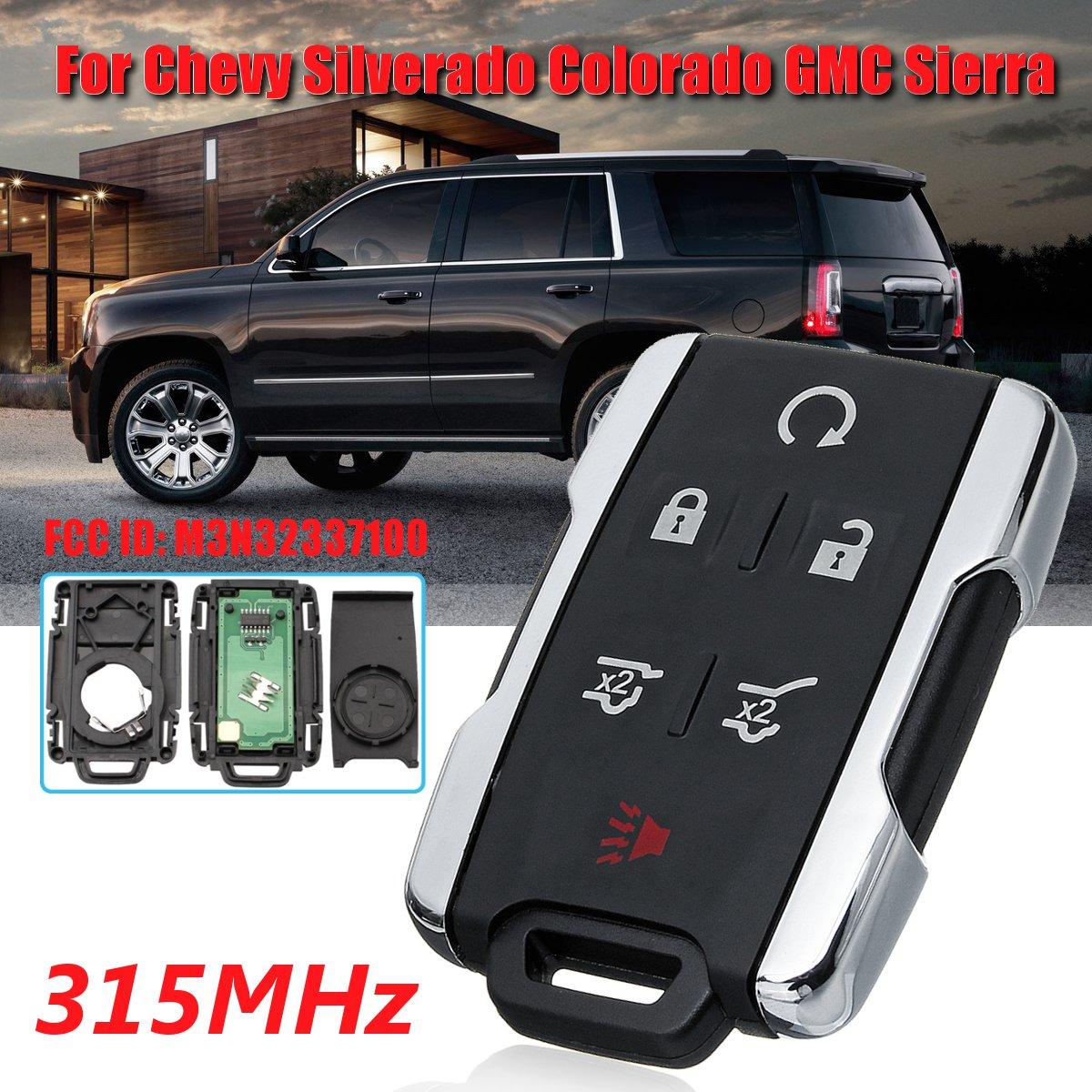 M3N-32337100 6-btn GMC Yukon 2014 2015 2016 2017 Chrome Key Fob Keyless Entry Remote Shell Case /& Pad fits Chevy Tahoe Suburban