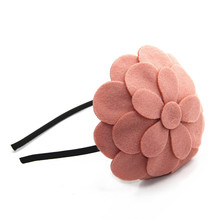 Winter style wool velvet flower hat style women children flower winter hairband hair accessories girls headband