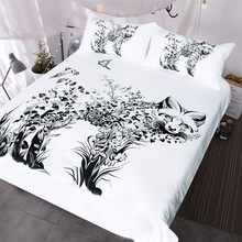 BlessLiving Fox Bedding Set Black and White Duvet Cover Set Wild Animal 3-Piece Bed Cover Flowers Birds Bedspreads Queen(China)