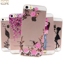 Unique Style Coque for apple iphone 5s Case silicone Cartoon Garden feather Peach blossom Pattern Soft Transparent Phone SE Case