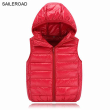 SAILEROAD 3-11Years White Duck Down Winter Vest Boys Girl's Warm Outerwear Waistcoat Children Sleeveless Sweater Garment Autumn