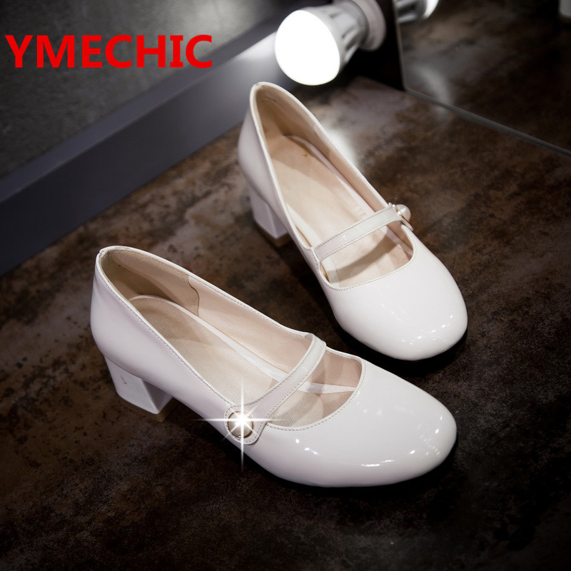 YMECHIC 2017 Elegant Vintage Women Shoes High Heel White Black Red Mary Janes Pumps Large Size Patent Leather Heels Shoes Lady(China (Mainland))