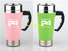 2pcs Green+Pink Color Herbalife Nutrition Shake Bottle 500ml Stainless Self Stirring Mug Auto Mixing Health Meal/Tea Coffee Cup