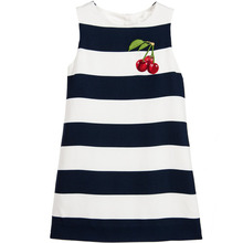 Birthday Dress Girls Costume 2017 Brand Princess Dress Striped Cherry Pattern Robe Princesse Fille Toddler Dresses Kids Clothes