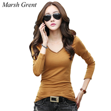 Buy T Shirt Women Clothes Solid V Neck Tshirt Long Sleeve Tops Womens Clothing T-Shirts Cotton Casual Tee Shirt Femme Poleras Mujer for $20.29 in AliExpress store