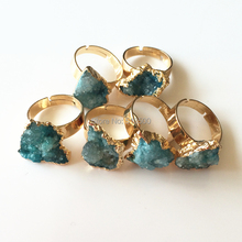 Gift Box Packing Natural Stone Druzy Ring 5 Colors for Option Geometric Shape Drusy Druzy Rings Free Shipping(China)