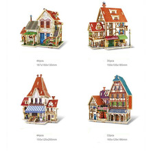 3D Wooden House Puzzle French Style Coffee Cafe Shop Farm Flower Store Hotel Kids DIY Building Toy Gift For Children(China)