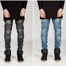 European and American street BIKER JEANS brand personality men motorcycle jeans pleated Slim Pencil pants high elasticity jeans