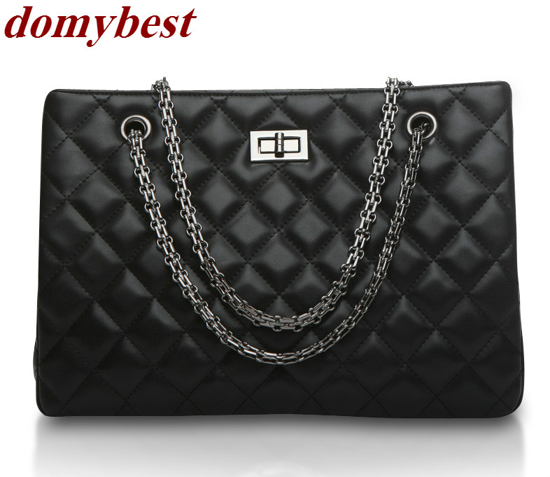 2017 Fashion Woman Big Embroidery Bags Ladies Luxury Handbag Women Plaid Chain Shoulder Bag Large Quilted Black Bolsas Femininas<br>