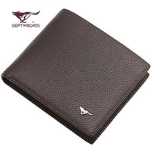 SEPTWOLVES male wallet, short design genuine leather cowhide card folder horizontal commercial wallet,fashion male leather purse