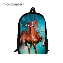 TWOHEARTSGIRL Cool Boys Backpack Printing Crazy Horse School Backpack for Children Fashion High School Kids Bagpack Mochila(China)