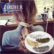 Zoeber Lady Fashion Metal Leaf Shape Hair Clip Barrettes Crystal Pearl Hairpin Barrette color feather Hair Claws Accessories(China)