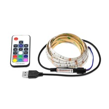 5V USB Charging Cable Powered String Light 3528 RGB LED Strip Lamp Tape+RF Controller TV Background Decoration 1m 2m 3m 4m 5m(China)