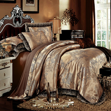 Luxury Wedding Modal satin  Silk Cotton Jacquard Brown Bedding Sets King Queen Size Duvet cover set Bed spread Pillowcases
