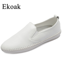 Ekoak Genuine Leather Sneakers Size 35-43 New 2017 Classic Women Casual Shoes Spring Autumn Women Flats Fashion Shoes Woman