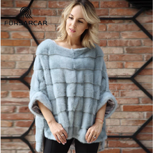 FURSARCAR Luxury Woman Real Mink Fur Coat Genuine Fur Poncho Natural Winter Female Jacket Full Pelt Real Fur Cape Shawl Coat(China)