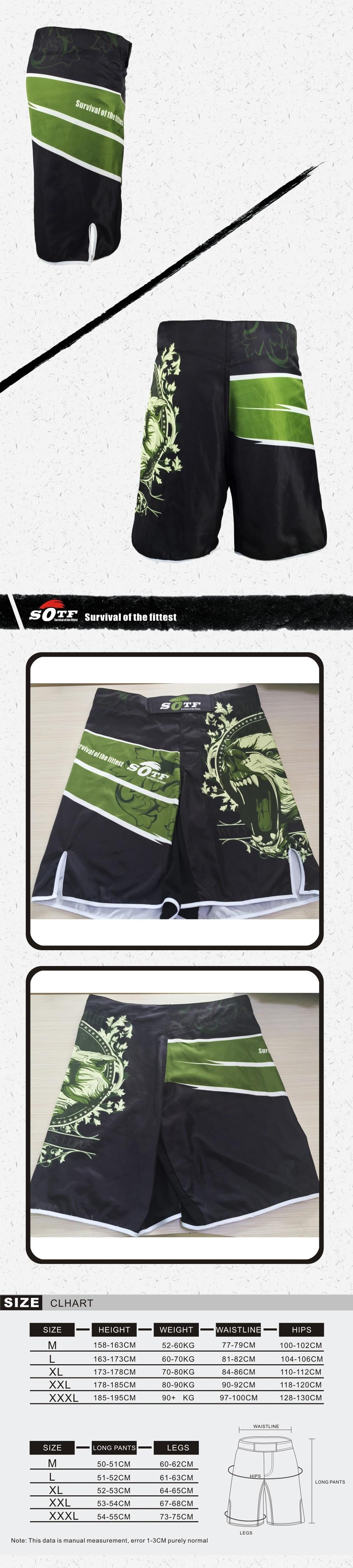 SOTF Green Bear breathable cotton boxer shorts mma sports training thai boxing