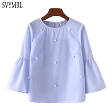 Svymrl 2017 New Fashion Summer Women casual Blue Shirt 3/4 flare sleeve  pearls beading Loose top Blouse Blouse Plus size