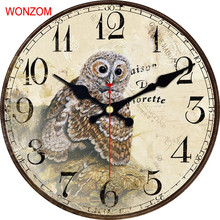 WONZOM Owl Design Large Bird Wall Clock Silent Living Room Wall Decor Saat Home Decoration Watch Wall 2017 Reloj De Pared Cheap
