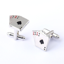 J Store Joker 4A Poker Cufflinks For Men French Shirt Male Cards Design Zinc Alloy Cuff Link Fashion Jewelry Accessories