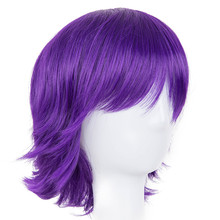 Short Purple Wig Fei-Show Synthetic Heat Resistant Fiber Wavy Hair Women Ladies' Costume Cartoon Role Cos-play Female Hairpiece(China)