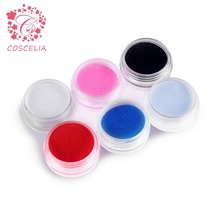 6 Colors Acrylic Powder Dust UV Gel Design 3D Tips Decoration Manicure Nail Art Acrylic Powder For Nails(China)