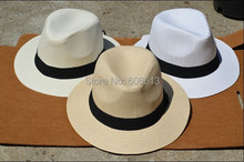Summer Cool Men's Panama Style Wide brim Cap Fedora Straw Made Beach Hat  , 6PCS/LOT Free shipping