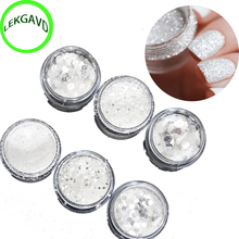 3 style Mixed Laser Nail Glitter Tips White Silver Glitter Powder Shiny Nail Glitter Powder 1mm&2mm&3mm Nail Art Decoration hot
